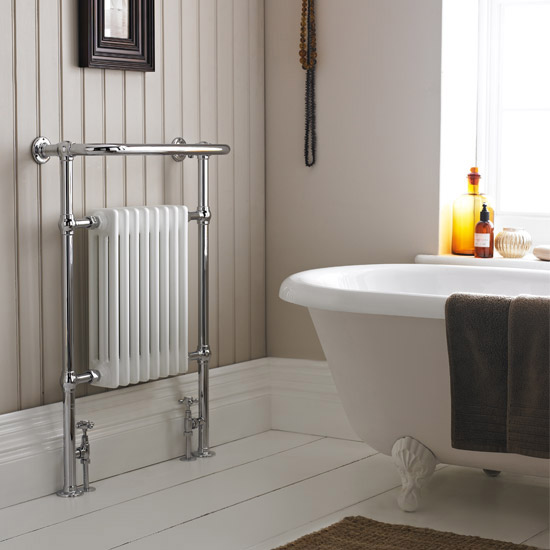 Savoy Traditional Heated Towel Rail Radiator profile large image view 3