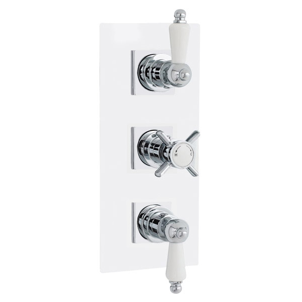 Traditional Triple Concealed Thermostatic Shower Valve with Diverter & Rectangular Plate Large Image