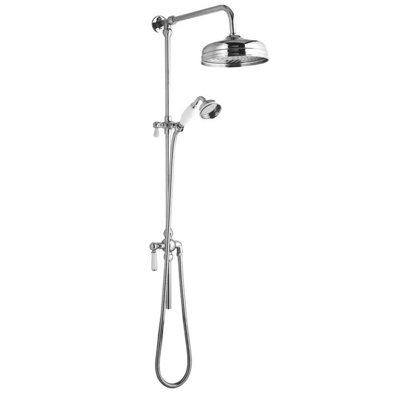 Ultra Traditional Twin Exposed Shower Package with Valve + Victorian Grand Rigid Riser Kit profile large image view 3