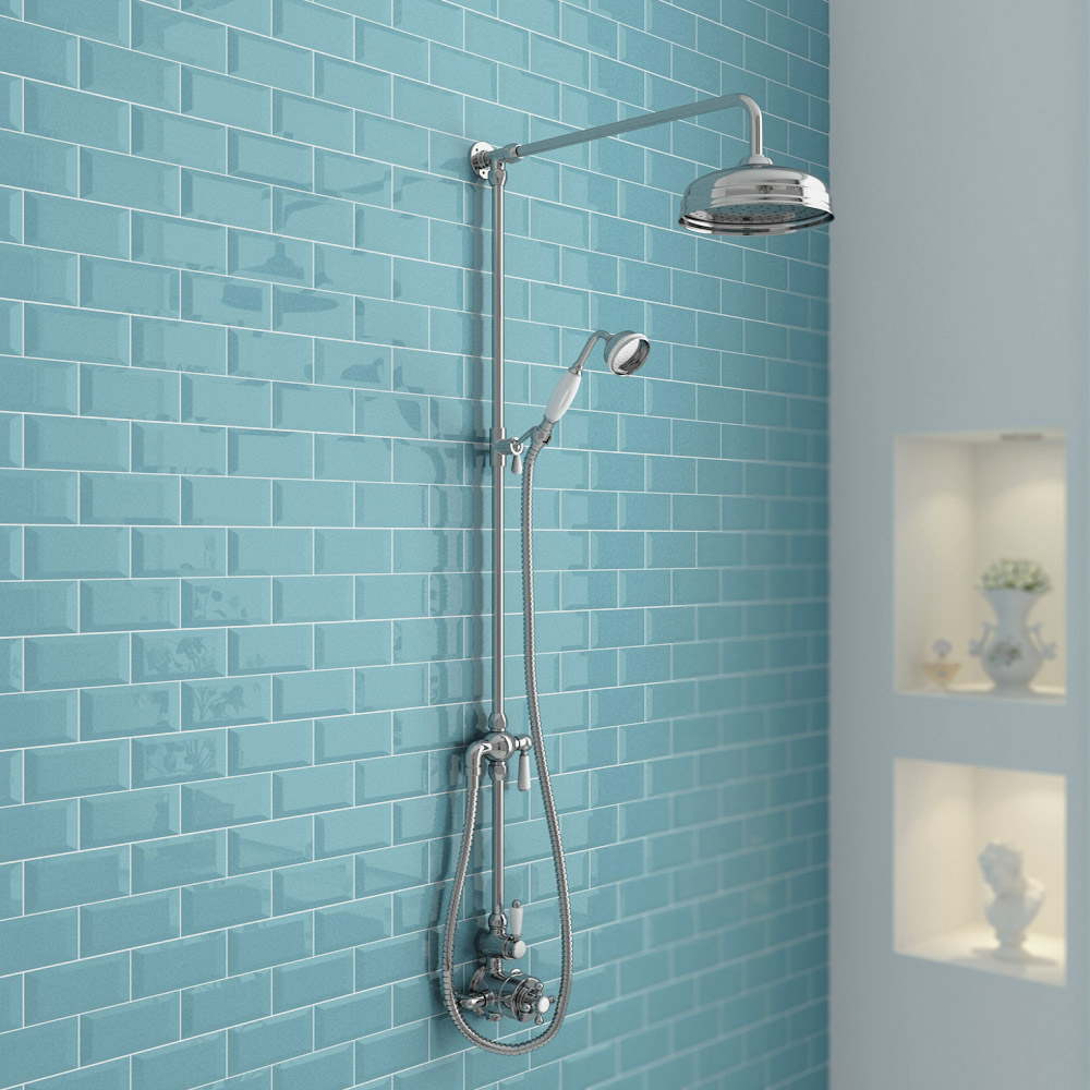 Traditional Twin Exposed Shower Package with Valve + Victorian Grand Rigid Riser Kit
