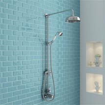 Ultra Traditional Twin Exposed Shower Package with Valve & Victorian Grand Rigid Riser Kit Medium Im