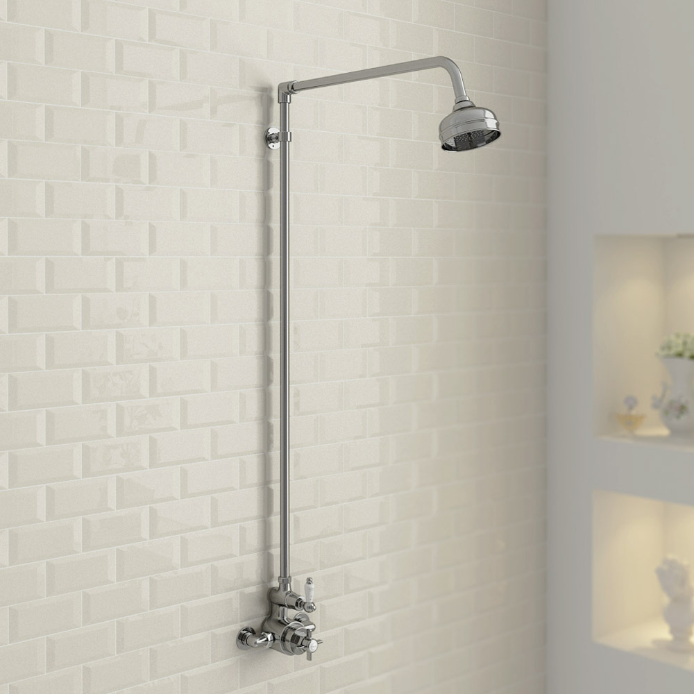 Ultra Traditional Twin Exposed Thermostatic Shower Valve With Rigid Riser Kit At Victorian