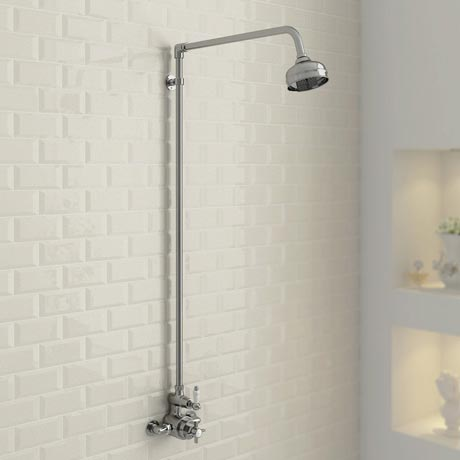 Ultra Traditional Exposed Thermostatic Shower Package with Twin Valve & Riser Kit