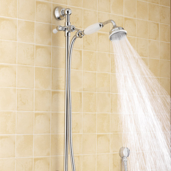 """Traditional Triple Concealed Valve with Diverter, 12"""" Shower Head, Curved Arm, 4 Body Jets & Slider profile large image view 5"""