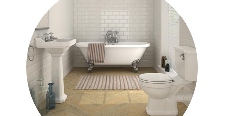Traditional bathroom suite with freestanding bath, traditional pedestal sink and traditional toilet