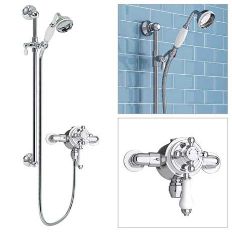 Trafalgar Traditional Dual Exposed Thermostatic Shower Valve Inc. Slider Rail Kit