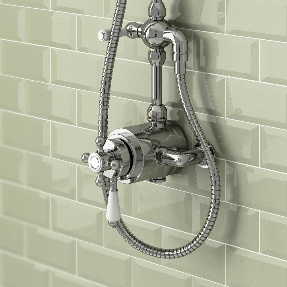 Trafalgar Traditional Dual Exposed Thermostatic Shower Valve profile large image view 2