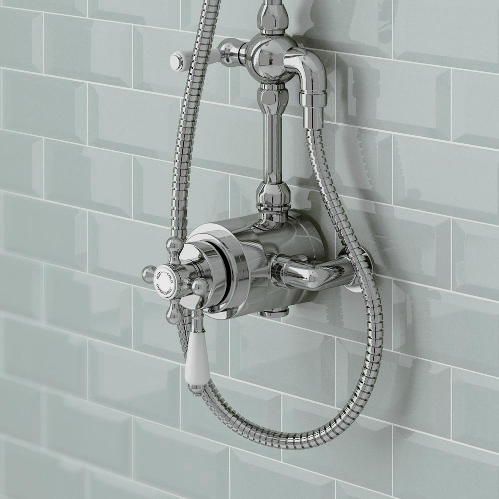 Trafalgar Traditional Luxury Rigid Riser Kit with Diverter & Dual Exposed Shower Valve profile large image view 4