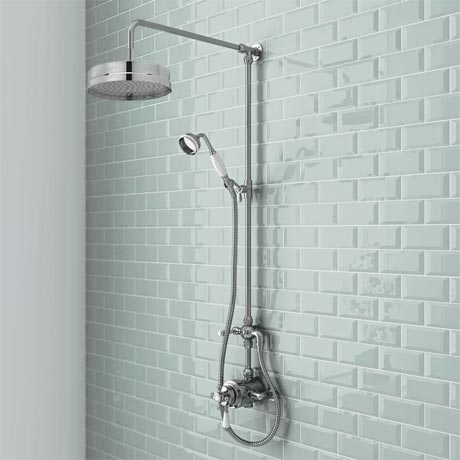 Trafalgar Traditional Luxury Rigid Riser Kit with Diverter & Dual Exposed Shower Valve