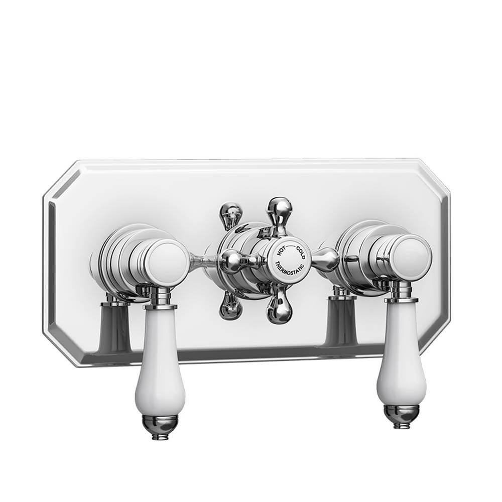 Trafalgar Traditional Triple Concealed Thermostatic Shower Valve profile large image view 2