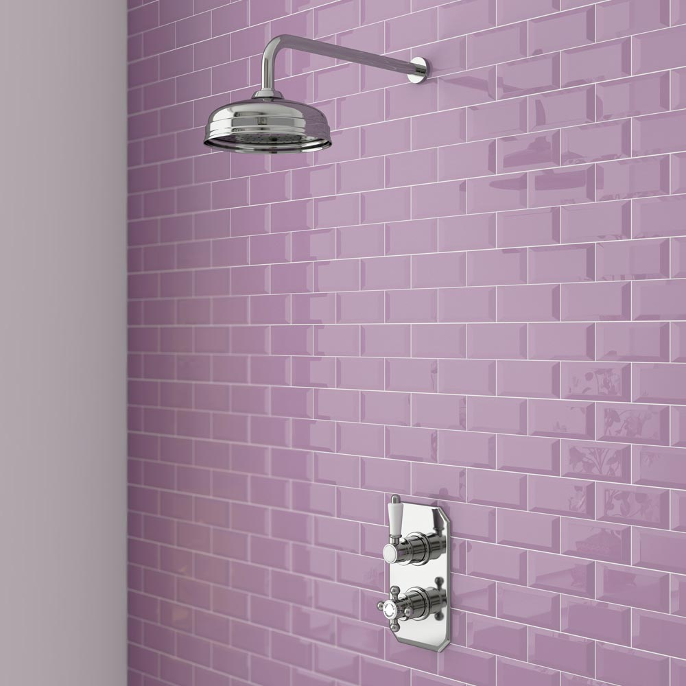 Trafalgar Traditional Twin Concealed Thermostatic Shower Valve profile large image view 2