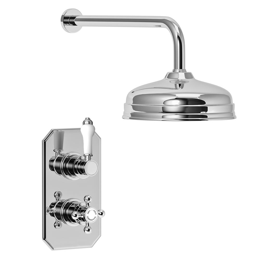 "Trafalgar Traditional Twin Concealed Thermostatic Shower Valve Inc. 8"" Apron Fixed Head profile large image view 2"