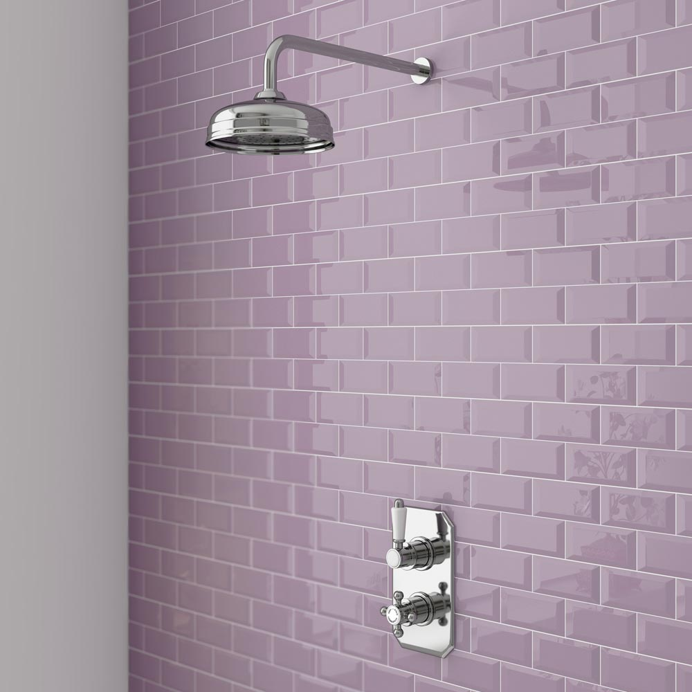 Trafalgar Traditional Twin Concealed Thermostatic Shower Valve Inc 8 Quot Apron Fixed Head