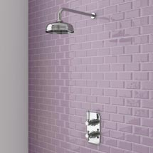 "Trafalgar Traditional Twin Concealed Thermostatic Shower Valve inc 8"" Apron Fixed Head Medium Image"