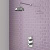 "Trafalgar Traditional Twin Concealed Thermostatic Shower Valve inc 8"" Apron Fixed Head Small Image"