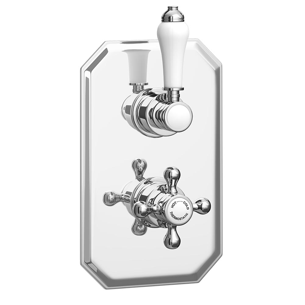 Trafalgar Traditional Twin Concealed Thermostatic Shower Valve profile large image view 1