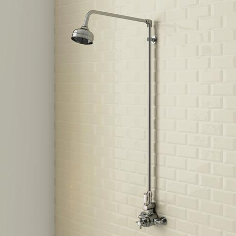 Trafalgar Traditional Twin Exposed Thermostatic Shower Valve inc Rigid Riser