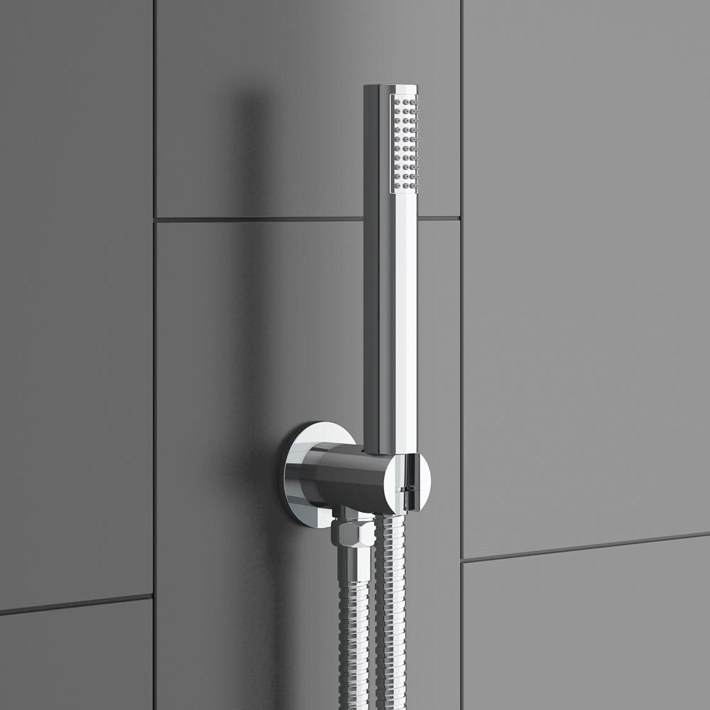 Trafalgar Triple Concealed Shower Valve Inc. Outlet Elbow, Handset & Curved Arm with Fixed Head profile large image view 3