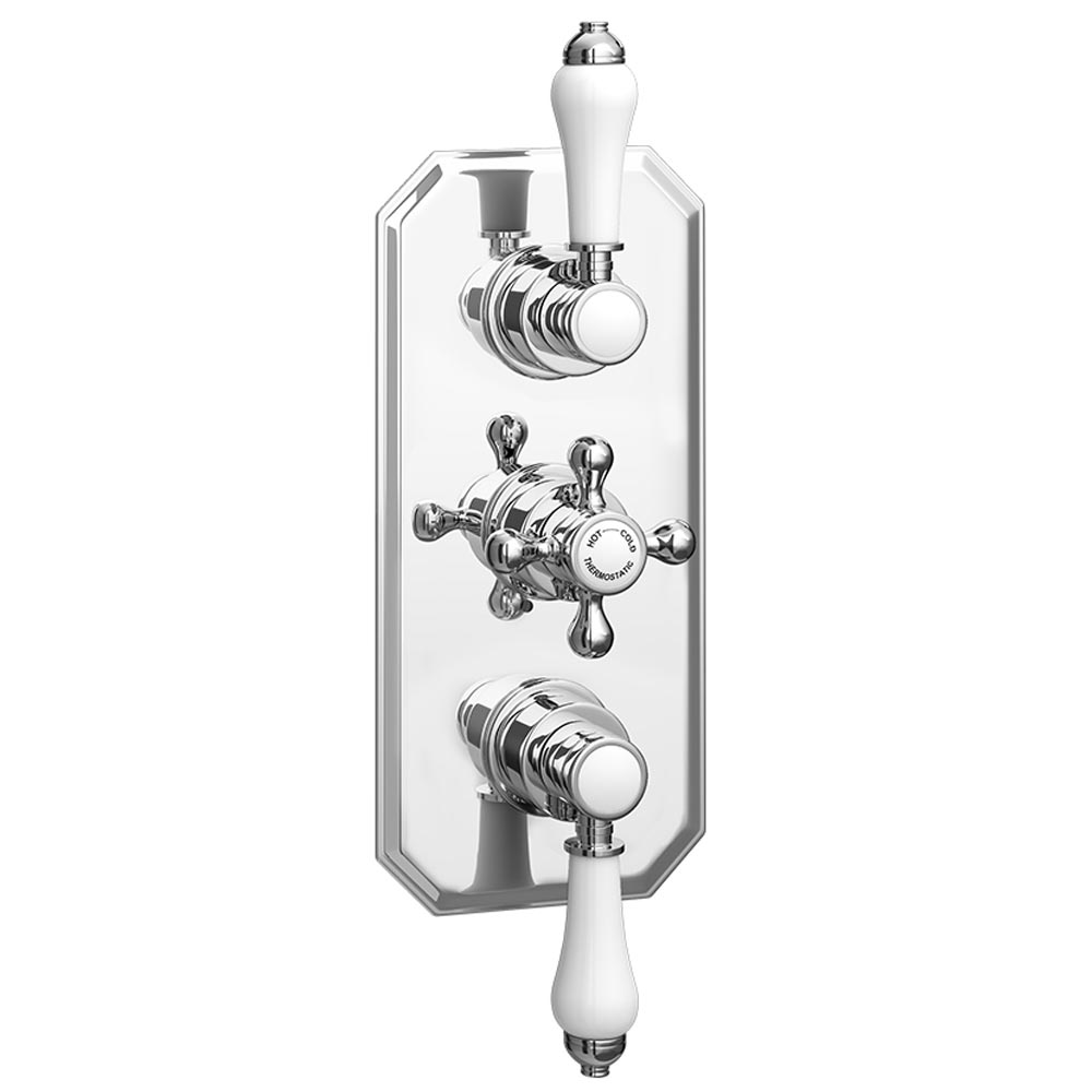 Trafalgar Triple Concealed Shower Valve Inc. Outlet Elbow, Handset & Curved Arm with Fixed Head profile large image view 4