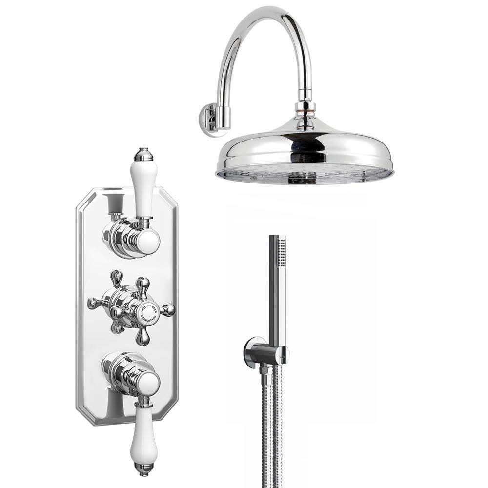 Trafalgar Triple Concealed Shower Valve Inc. Outlet Elbow, Handset & Curved Arm with Fixed Head Large Image