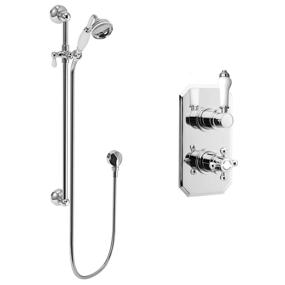 Trafalgar Twin Concealed Thermostatic Shower Valve + Slider Rail Kit profile large image view 3