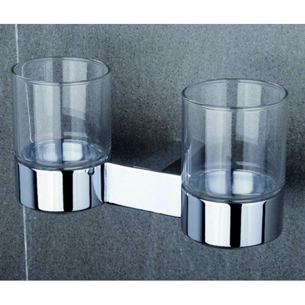 Tre Mercati - Edge Wall Mounted Double Glass Holder - 66525 profile large image view 1