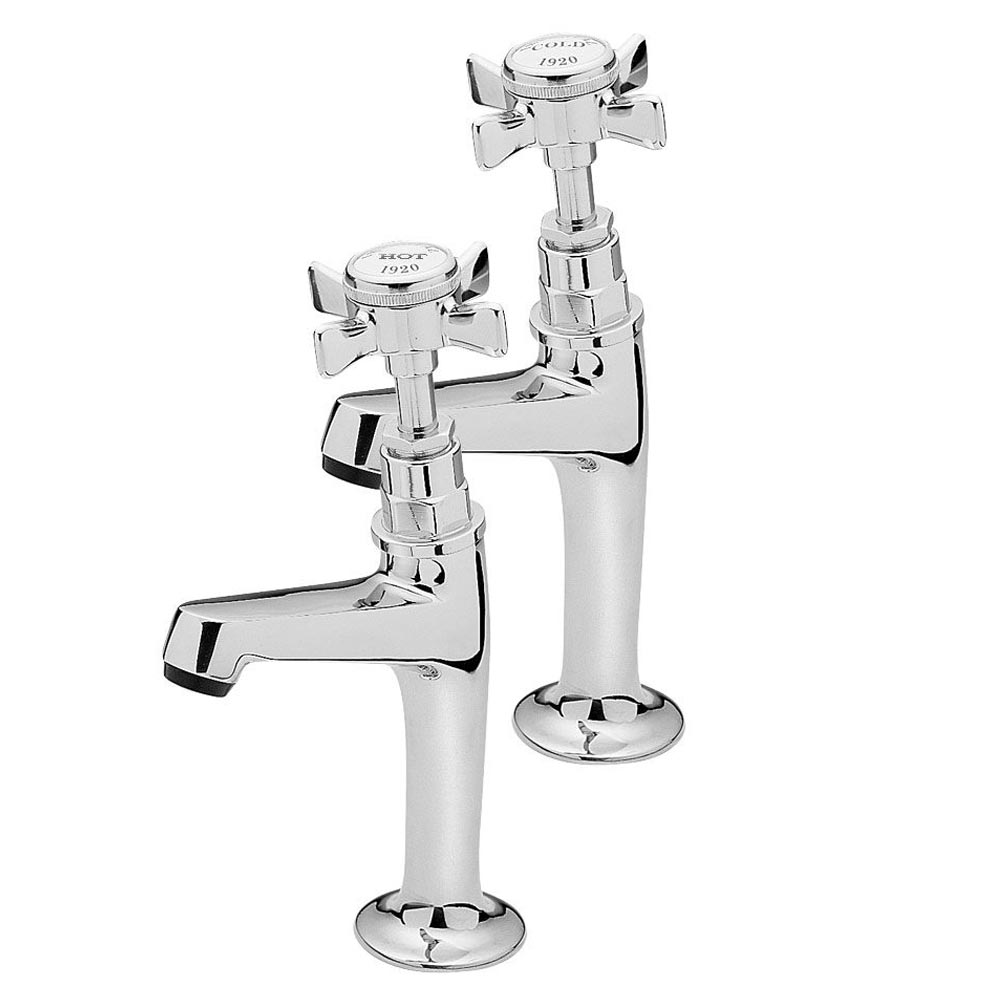 Tre Mercati - Imperial High Neck Kitchen Pillar Taps - Chrome - 1079 Large Image