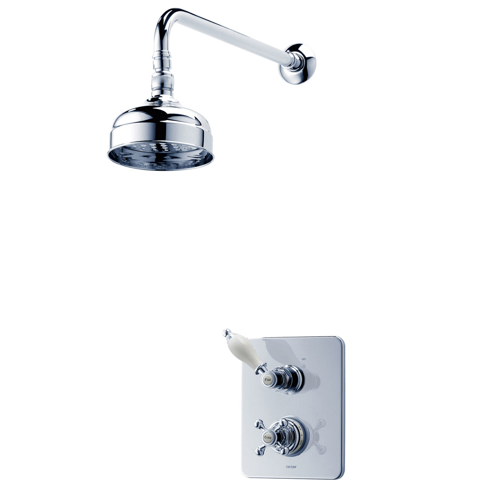 Triton Unichrome Avon Built-in Shower Valve with Fixed Shower Head Large Image
