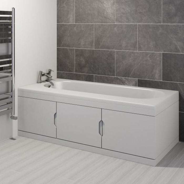Trojan Repono 1675mm Single Ended Bath + Storage Panels - Close up image of a modern bath with a bath panel storage compartment