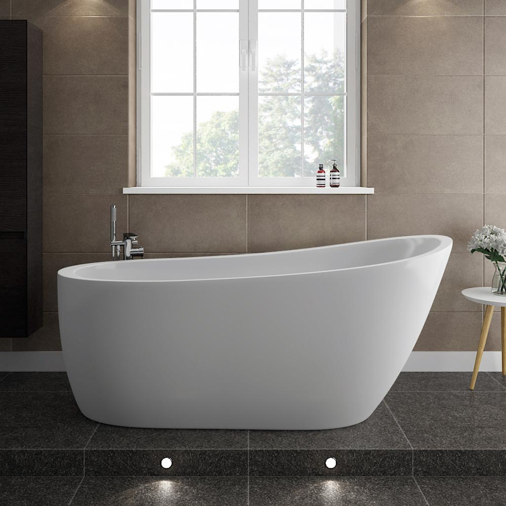 Turin 1665 modern slipper free standing bath at for Big and tall walk in tubs