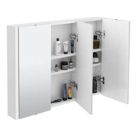 Turin 3 door mirror cabinet minimalist white 900mm wide for Kitchen cabinets 900mm wide