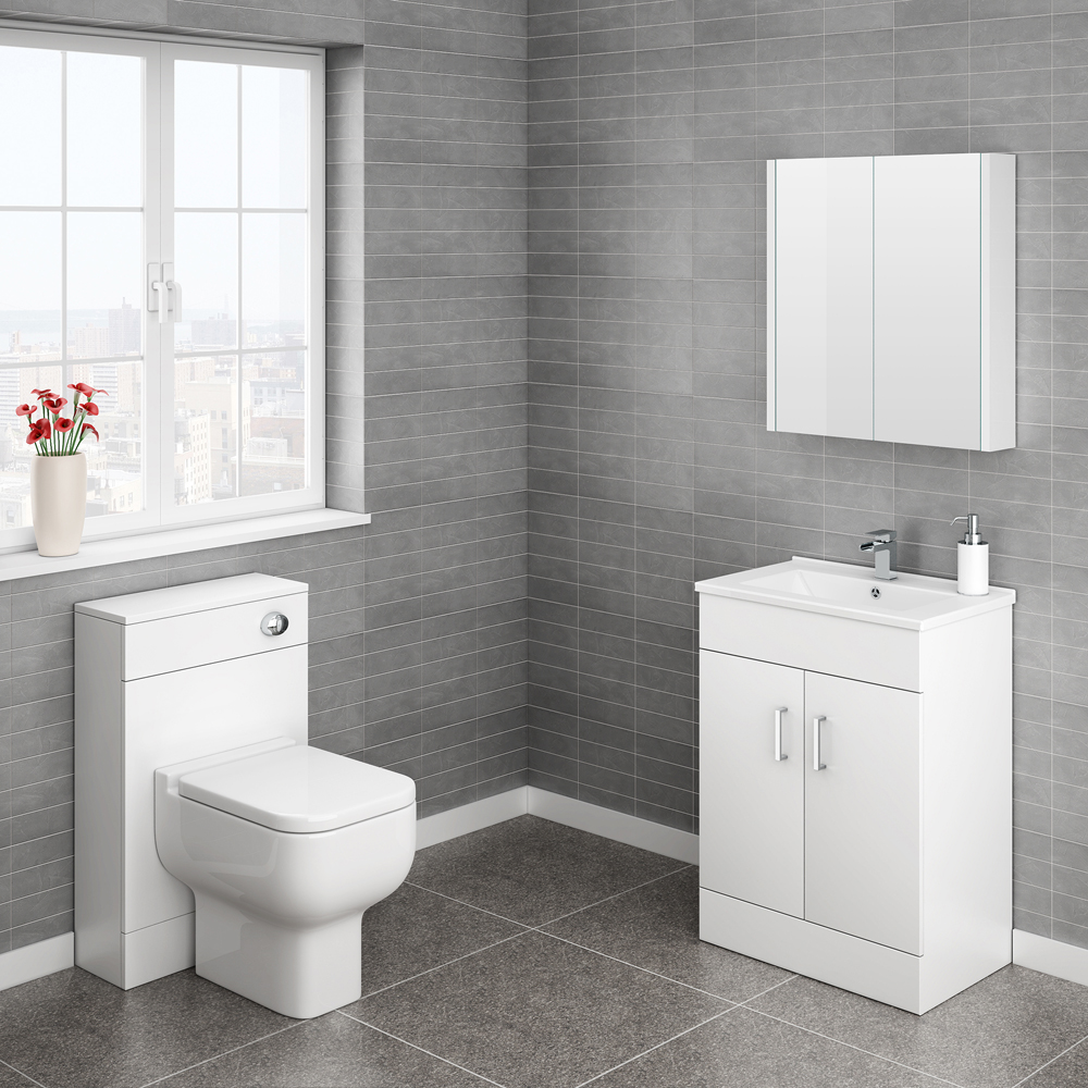 Turin Cloakroom Suite Inc. Pro 600 Toilet (White Gloss) Large Image