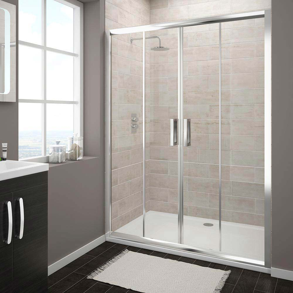 Turin Double Sliding 8mm Easy Fit Shower Door (1400mm) Large Image