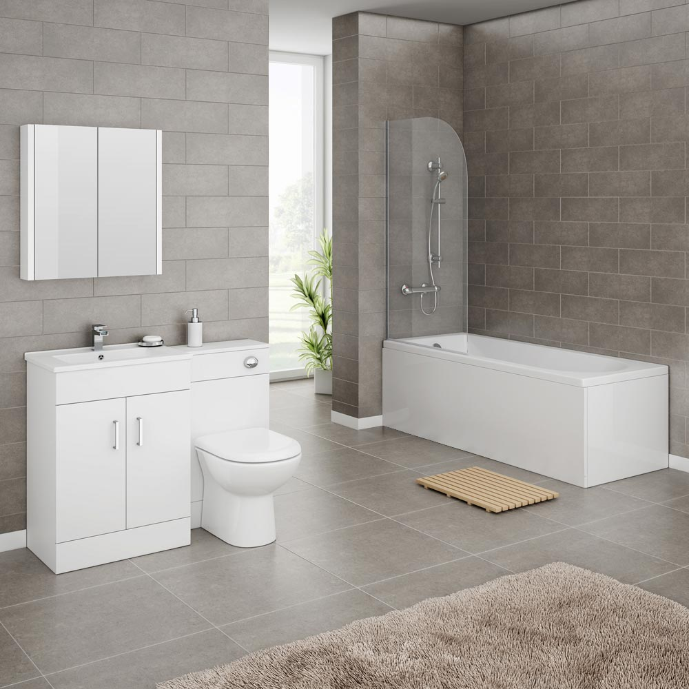 Turin Gloss White Vanity Unit Suite + Single Ended Bath - 3 Bath Size Options Large Image