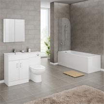 Turin Gloss White Vanity Unit Suite + Single Ended Bath - 3 Bath Size Options Medium Image