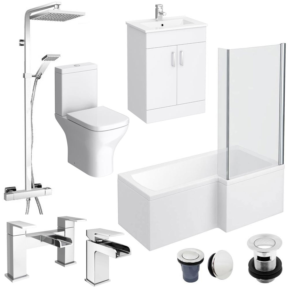 Cove Complete Bathroom Suite: Turin L-Shaped 1700 Complete Bathroom Package