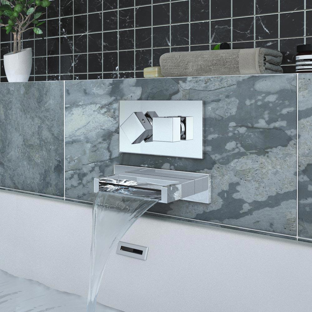 Turin Modern Wall Mounted Waterfall Bath Spout - Chrome profile large image view 2