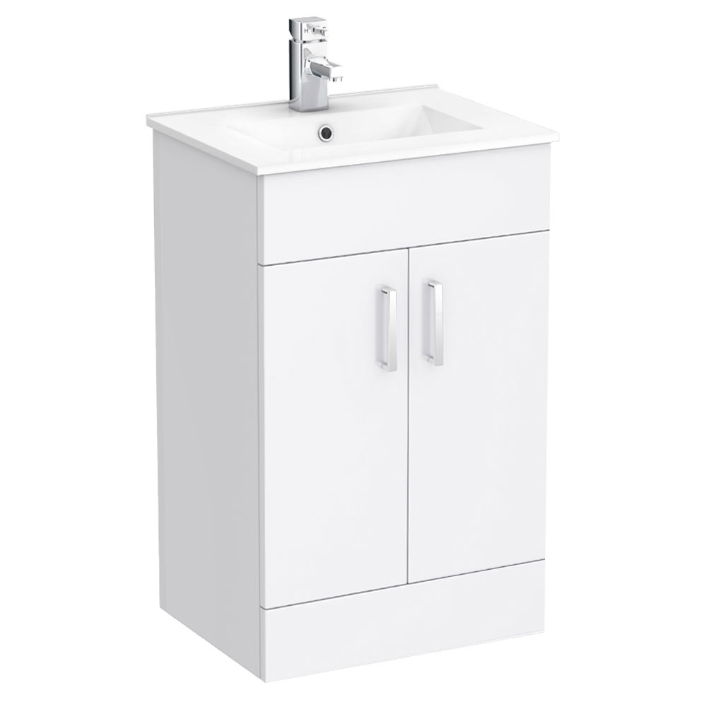 Turin small vanity sink with cabinet 500mm modern high gloss white victorian plumbing uk Small bathroom cabinets uk