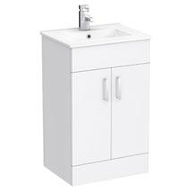 Turin Small Vanity Sink With Cabinet - 500mm Modern High Gloss White Medium Image