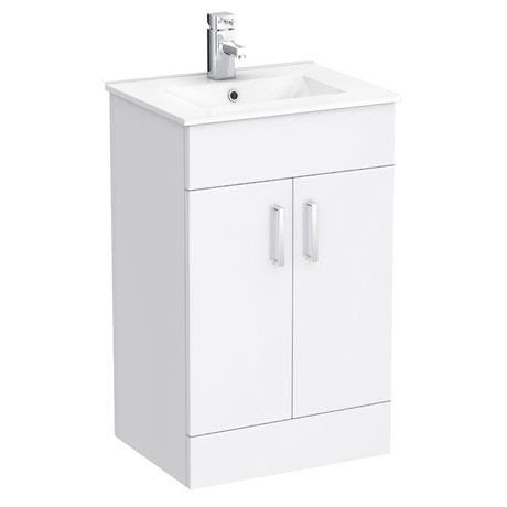 Turin Small Vanity Sink With Cabinet - 500mm Modern High Gloss White