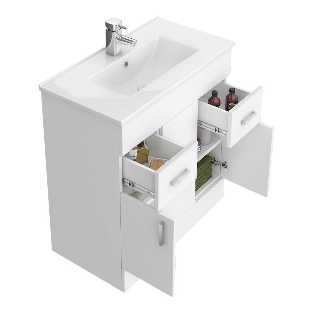 Turin Vanity Sink With Cabinet - 800mm Modern High Gloss White profile large image view 4