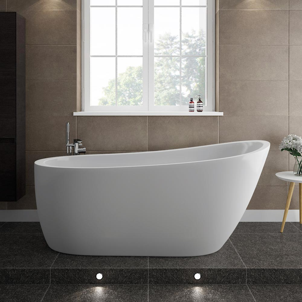 Turin Vanity Unit Suite + Modern Slipper Bath profile large image view 2