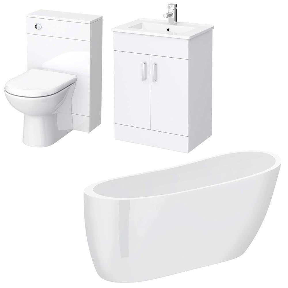 Turin Vanity Unit Suite + Modern Slipper Bath Large Image