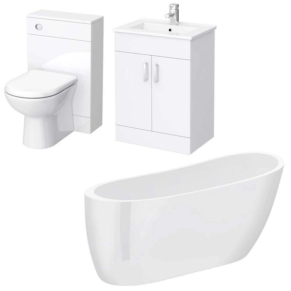 Turin Vanity Unit Suite + Modern Slipper Bath profile large image view 5