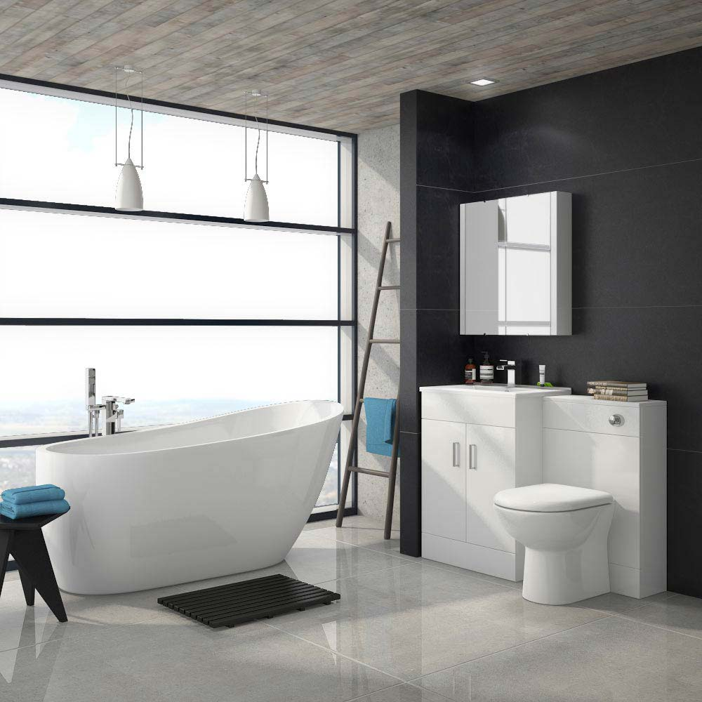 Turin Vanity Unit Suite + Modern Slipper Bath profile large image view 1