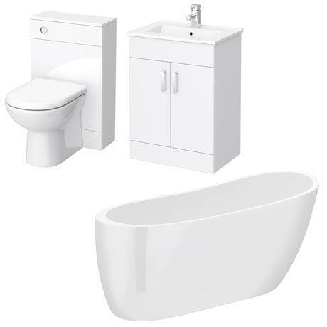 Turin Vanity Unit Suite + Modern Slipper Bath
