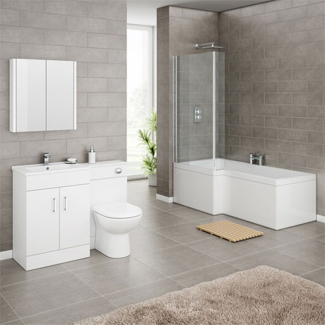 Turin Vanity Unit Bathroom Suite (Inc. Square Shower Bath + Screen)