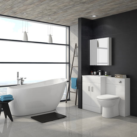 Turin Vanity Unit Suite + Modern Slipper Bath