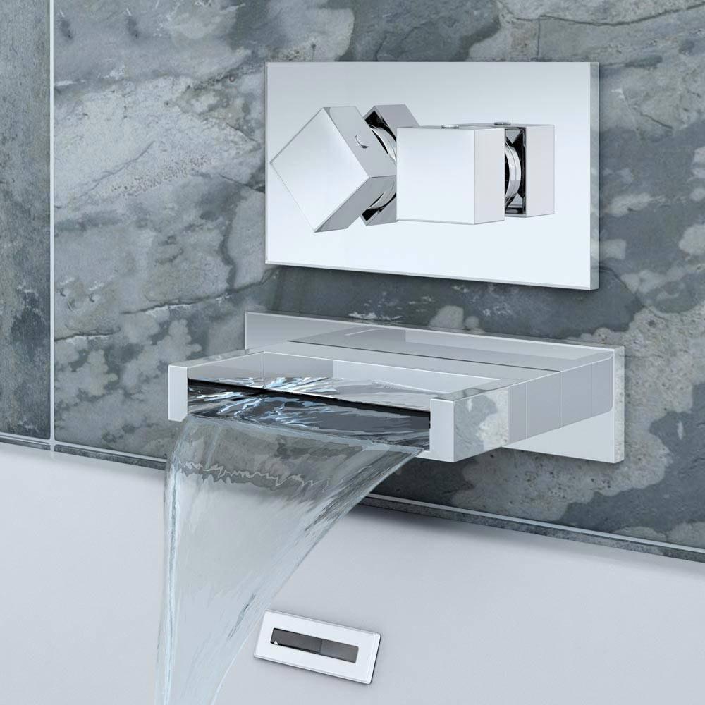 Turin Wall Mounted Waterfall Bath Filler With Concealed