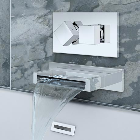 Turin Wall Mounted Waterfall Bath Filler + Concealed Thermostatic Valve
